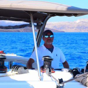 Yannis Daskalakis skipper in Thirasia-Santorini