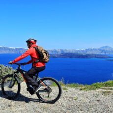 Thirasia E-biking Santorini View Across